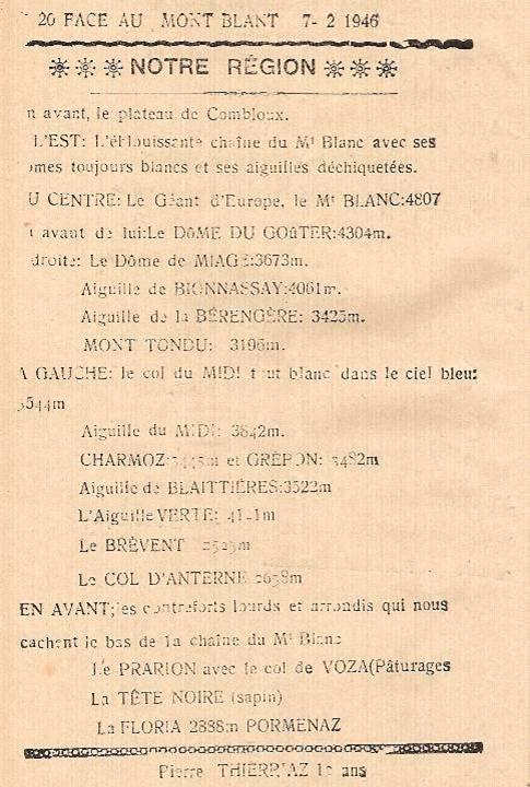 Journal scolaire de Passy, « Face au Mont-Blanc », février 1946, p. 4