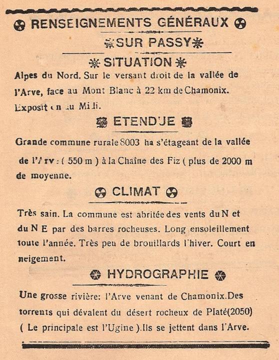 Journal scolaire de Passy, « Face au Mont-Blanc », novembre 1946, p. 15, « Renseignements généraux sur Passy »