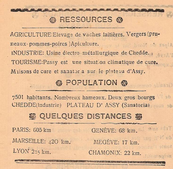 Journal scolaire de Passy, « Face au Mont-Blanc »,  novembre 1946, p. 16, « Renseignements généraux sur Passy » (suite et fin)