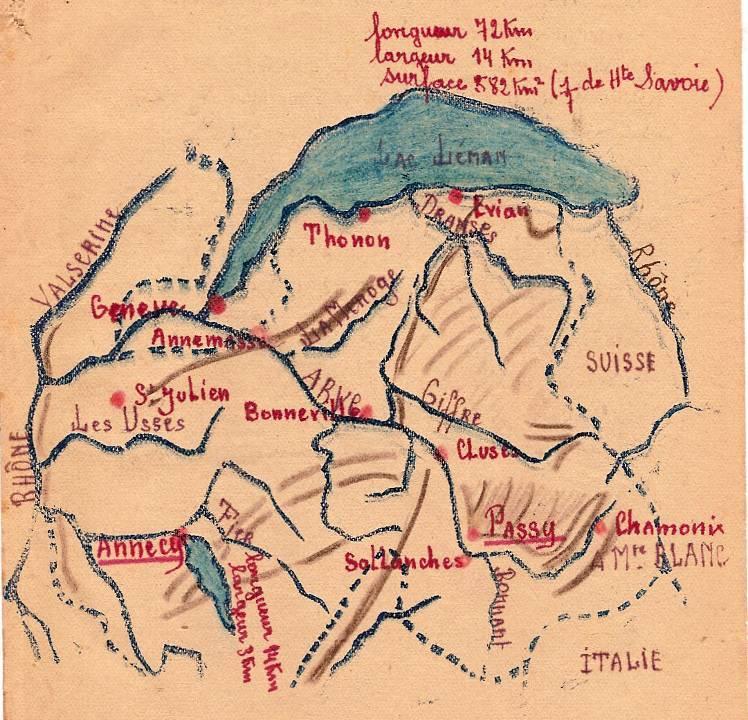 Linogravure complétée et coloriée du journal scolaire de Passy, « Face au Mont-Blanc », novembre 1946, p. 17