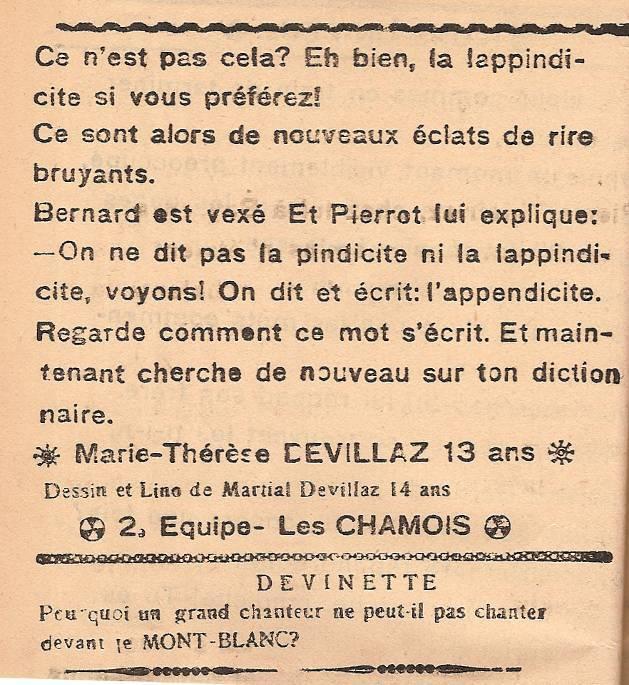 Journal scolaire de Passy « Face au Mont-Blanc », décembre 1946, p. 4 « Rions un peu… » (fin)