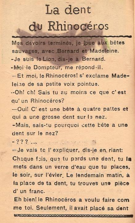 Journal scolaire de Passy « Face au Mont-Blanc », janvier 1947, p. 11 « La dent du rhinocéros », par Marie-Thérèse Devillaz