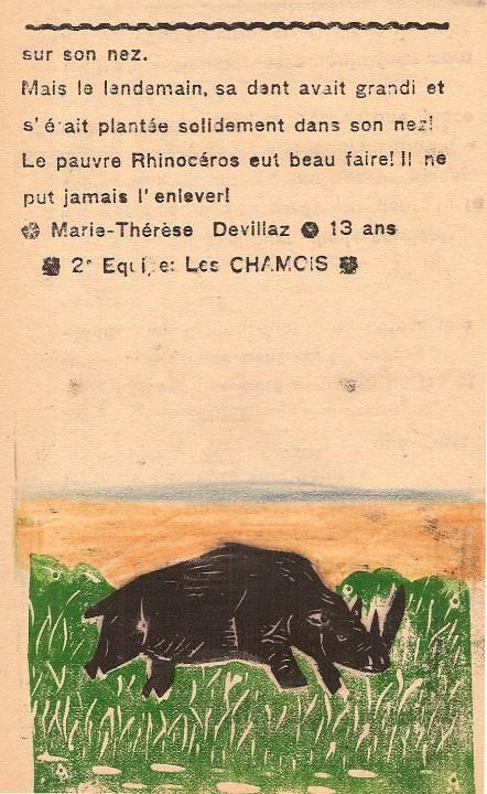 Journal scolaire de Passy « Face au Mont-Blanc », janvier 1947, p. 12 « La dent du rhinocéros » (fin)