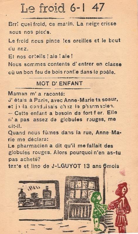 Journal scolaire de Passy « Face au Mont-Blanc », janvier 1947, p. 1 « Mot d'enfant », texte et lino de J. L. Guyot