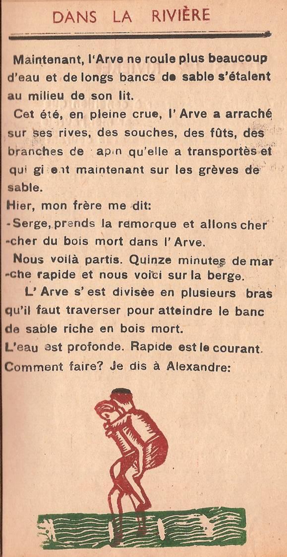 Journal scolaire de Passy « Face au Mont-Blanc », octobre 1947, p. 13 « Dans la rivière », par Serge Buezeck