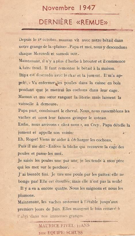 Journal scolaire de Passy « Face au Mont-Blanc », novembre 1947, p. 2 Dernière « remue », par Maurice Fivel