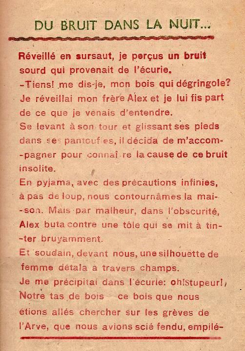 Journal scolaire de Passy « Face au Mont-Blanc », novembre 1947, p. 5 « Du bruit dans la nuit », Serge Buezeck