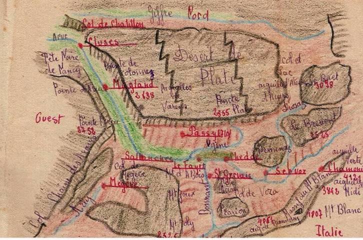 Journal scolaire de Passy, « Face au Mont-Blanc », novembre 1947, carte de la vallée de Passy et des sommets qui l'entourent