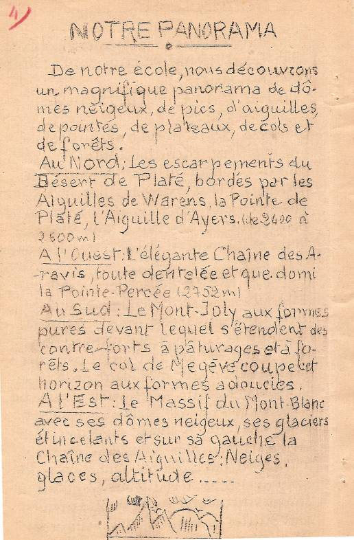 Journal scolaire de Passy, « Face au Mont-Blanc », novembre 1949, p. 4 « Notre panorama »