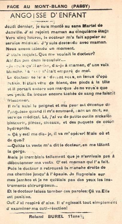 Journal scolaire de Passy « Face au Mont-Blanc », février 1950, p. 13 « Angoisse d'enfant » à Martel de Janville