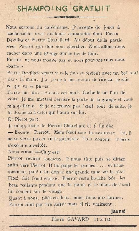 Journal scolaire de Passy « Face au Mont-Blanc », février 1950, p. 9 « Shampoing gratuit », par Pierre Gavard