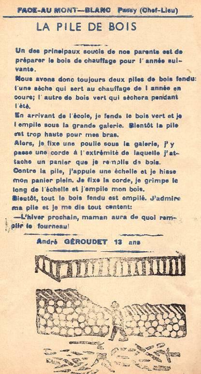 Journal scolaire de Passy « Face au Mont-Blanc », janvier 1951, p. 12 La pile de bois », par André Géroudet