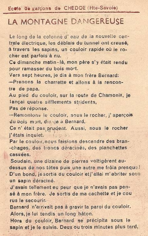 Journal scolaire de Passy « Face au Mont-Blanc », octobre 1951, p. 13 « La montagne dangereuse »