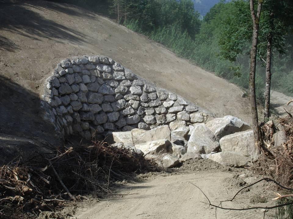 Blocs erratiques extraits de la face Nord de tête Noire lors des travaux EDF en 2012-13 (cliché août 2012)