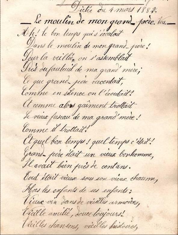 Cahier d'Eugène Delale, 4 mars 1882, p. 11 Plouvier, Le moulin de mon grand-père, vers (Coll. Jean Perroud)
