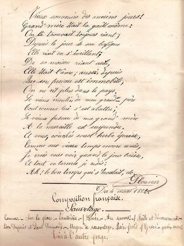 Cahier d'Eugène Delale, 4 mars 1882, p. 12 Plouvier, Le moulin de mon grand-père, fin (Coll. Jean Perroud)