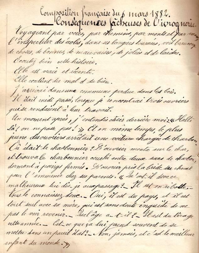 Cahier d'Eugène Delale, 6 mars 1882, p. 16 Lettre (Coll. Jean Perroud)