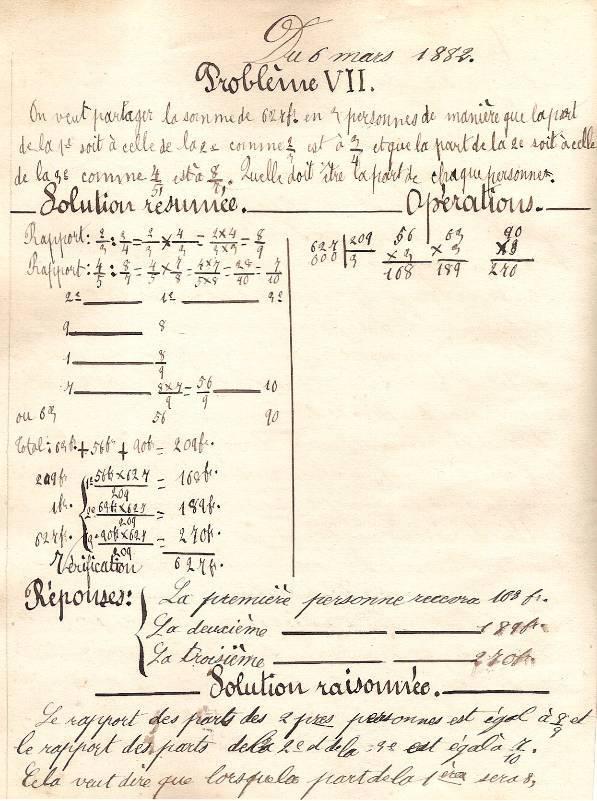 Cahier d'Eugène Delale, 6 mars 1882, p. 18 - 19, problème VII (Coll. Jean Perroud)