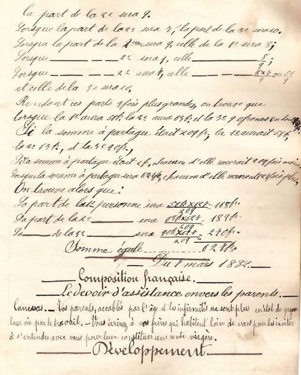Cahier d'Eugène Delale, 6 mars 1882, p. 19, problème VII (Coll. Jean Perroud)