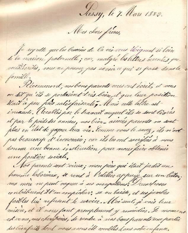 Cahier d'Eugène Delale, 7 mars 1882, p. 20 Lettre (Coll. Jean Perroud)