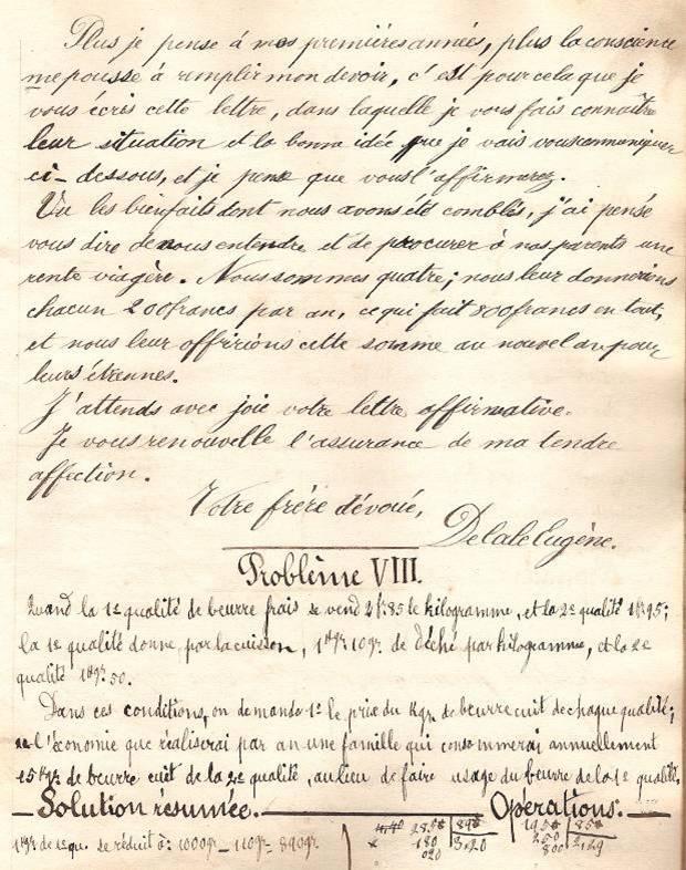 Cahier d'Eugène Delale, 7 mars 1882, p. 21 Lettre, fin (Coll. Jean Perroud)
