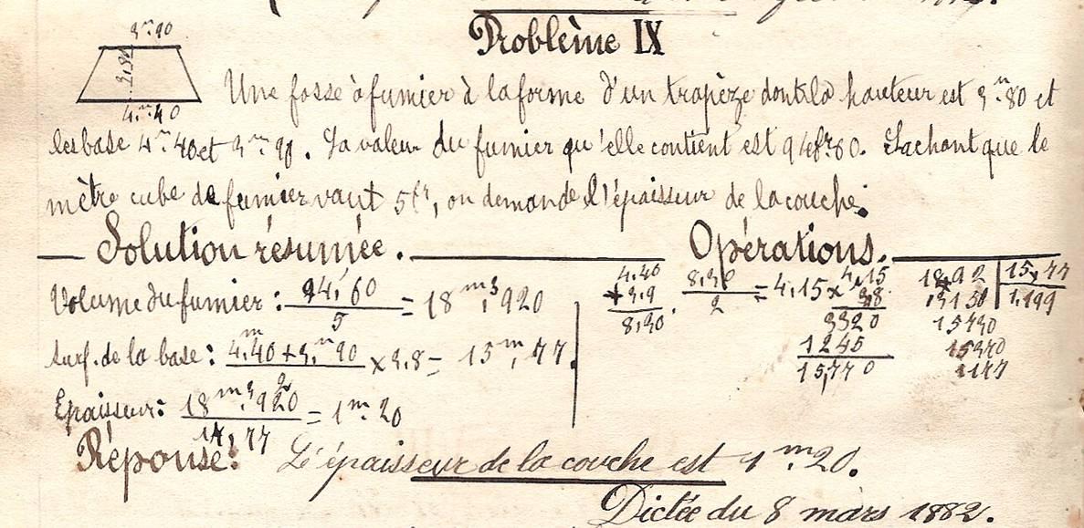 Cahier d'Eugène Delale, 7 mars 1882, p. 22 problème IX (Coll. Jean Perroud)