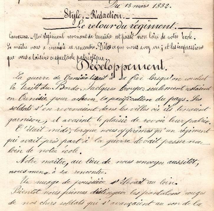 Cahier d'Eugène Delale, 13 mars 1882, p. 27, Le retour du régiment (Coll. Jean Perroud)
