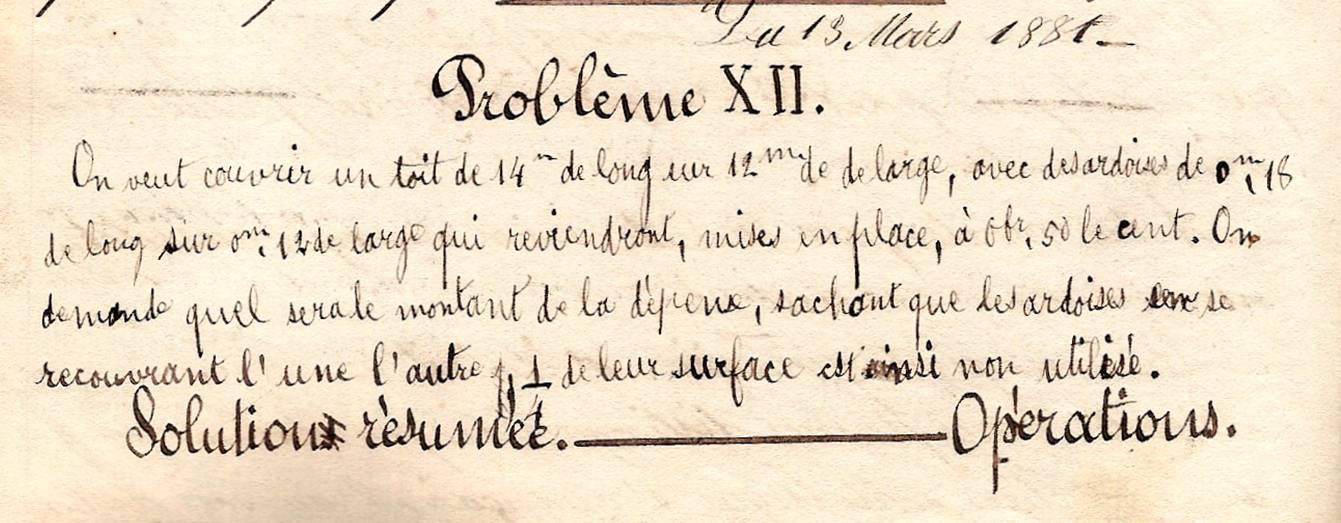 Cahier d'Eugène Delale, 13 mars 1882, p. 28, Problème XII (Coll. Jean Perroud)