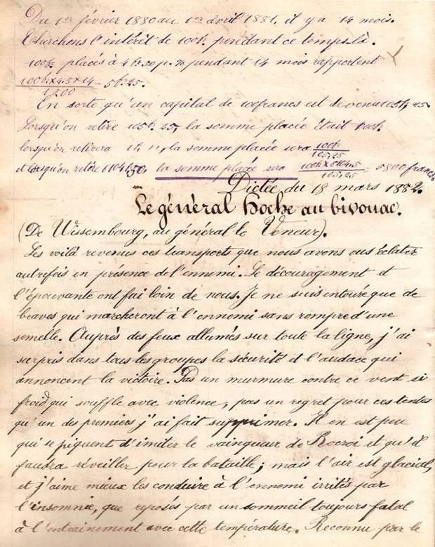 Cahier d'Eugène Delale, 18 mars 1882, p. 36 Le Général Hoche au bivouac (Coll. Jean Perroud)