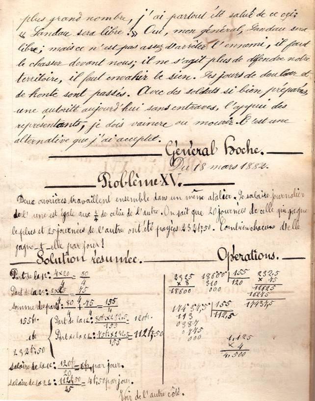 Cahier d'Eugène Delale, 18 mars 1882, p. 37 Le Général Hoche au bivouac, fin (Coll. Jean Perroud)
