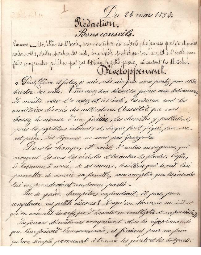 Cahier d'Eugène Delale, 24 mars 1882, p. 45, rédaction « Bons conseils » (Coll. Jean Perroud)