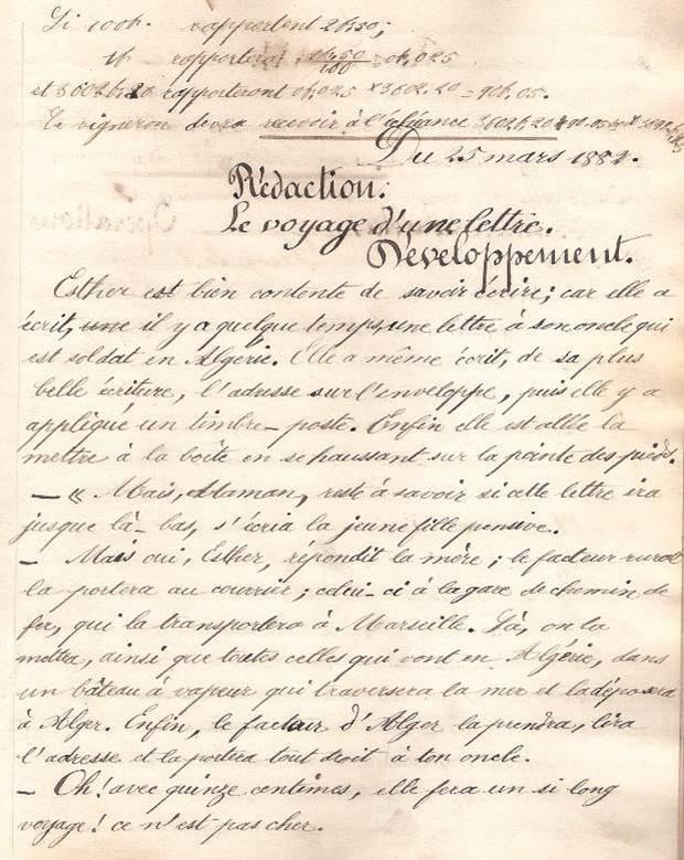 Cahier d'Eugène Delale, 25 mars 1882, p. 47 Le voyage d'une lettre (Coll. Jean Perroud)