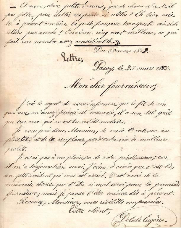 Cahier d'Eugène Delale, 25 mars 1882, p. 48 Lettre à un fournisseur (Coll. Jean Perroud)