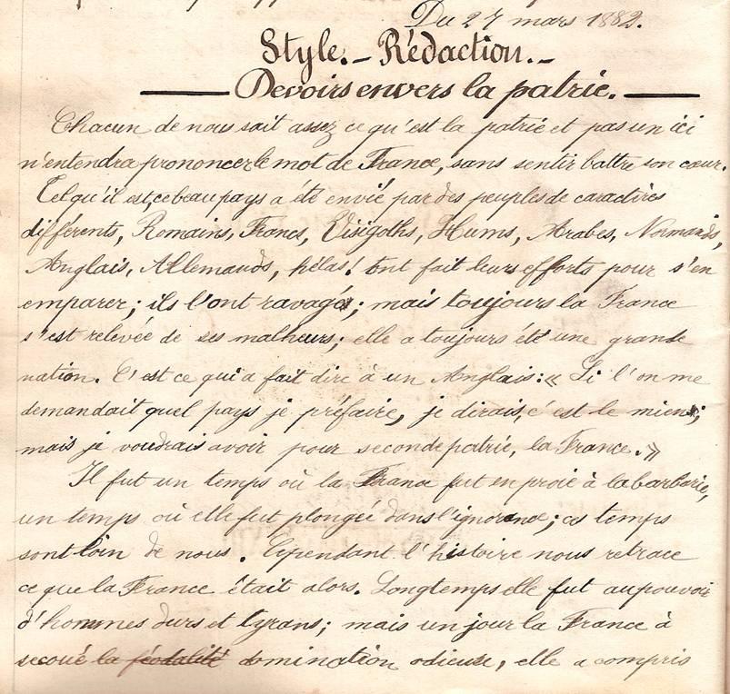 Cahier d'Eugène Delale, 27 mars 1882, p. 50, Devoirs envers la patrie (Coll. Jean Perroud)