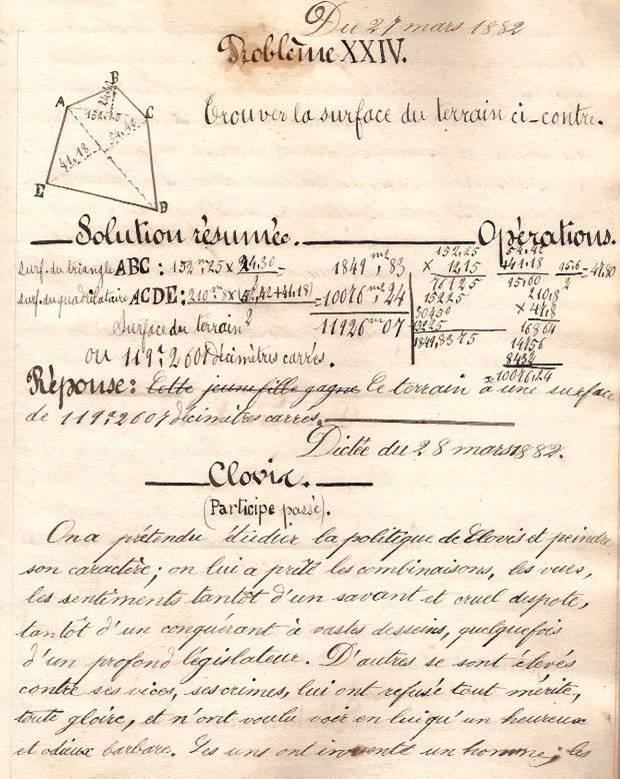 Cahier d'Eugène Delale, 27 mars 1882, p. 53, problème XXIV (Coll. Jean Perroud)