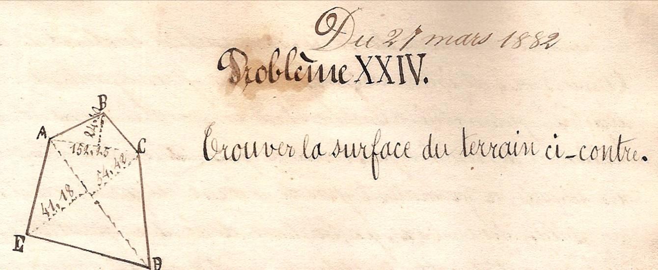 Cahier d'Eugène Delale, 27 mars 1882, p. 53, schéma du problème XXIV (Coll. Jean Perroud)