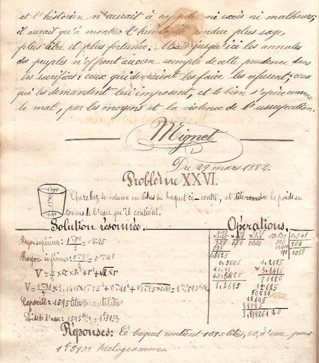 Cahier d'Eugène Delale, 29 mars 1882, p. 56, problème XXVI (Coll. Jean Perroud)