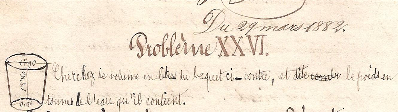 Cahier d'Eugène Delale, 29 mars 1882, p. 56, schéma du problème XXVI (Coll. Jean Perroud)