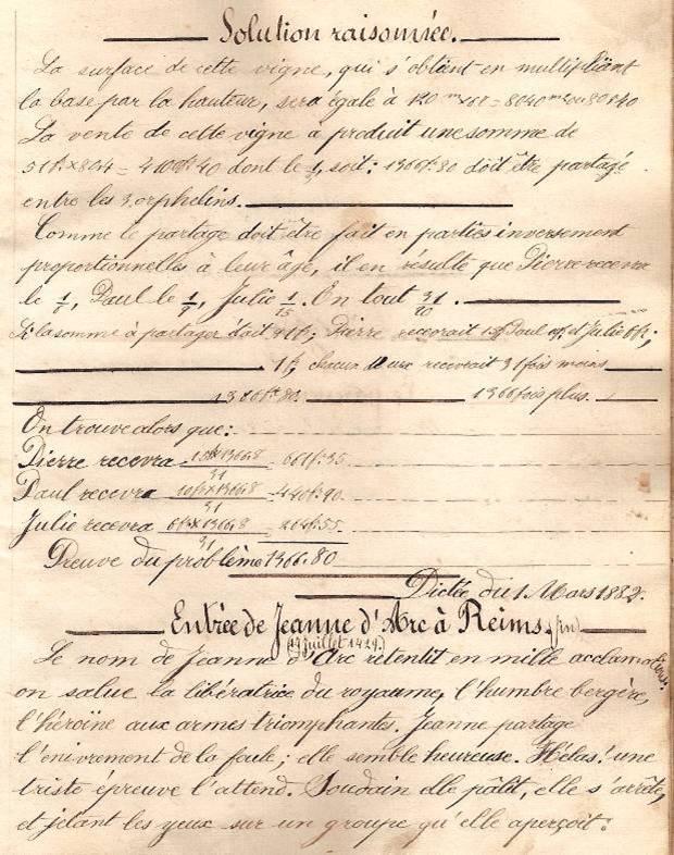 Cahier d'Eugène Delale, 28 février 1882, p. 5 : problème III (fin) et Elevart, Entrée de Jeanne d'Arc à Reims (Coll. Jean Perroud)