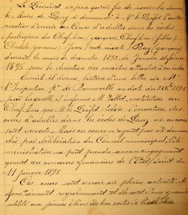 Archives municipales de Passy, délibération de 1896 sur les cours pour adultes, p. 1