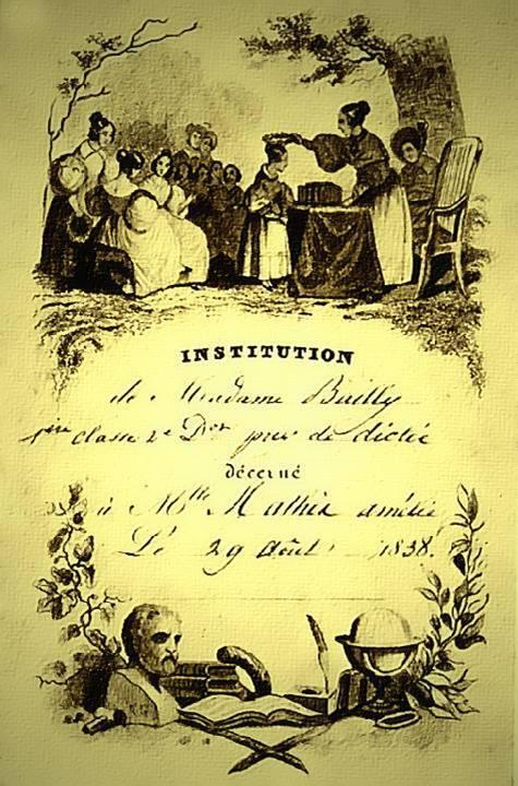 Distribution des prix dans une école de filles en 1838 : institution de Mme Bailly, prix de dictée (source Internet)