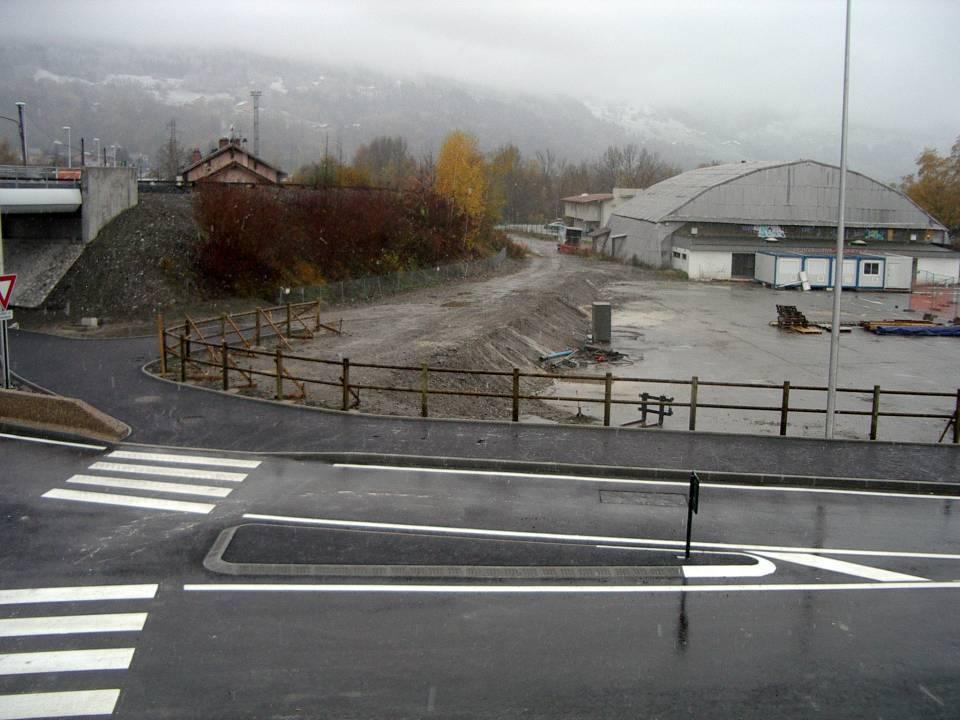 Chantier du giratoire de l'Aérodrome, à Passy, 20 novembre 2013 (cliché Bernard Théry)