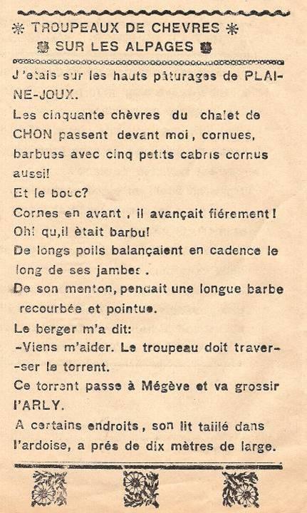 Journal scolaire de Combloux, « Contes des neiges », mai 1933, p. 2, Troupeaux de chèvres sur les alpages, par E. Million, 11 ans