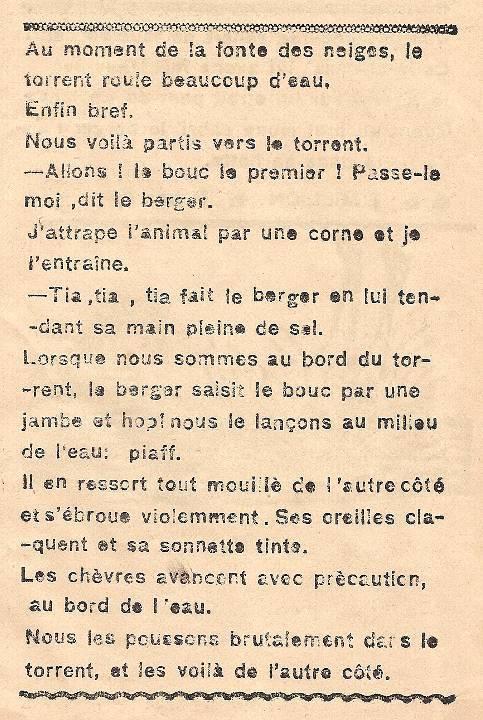 Journal scolaire de Combloux, « Contes des neiges », mai 1933, p. 3, Troupeaux de chèvres sur les alpages, par E. Million, 11 ans