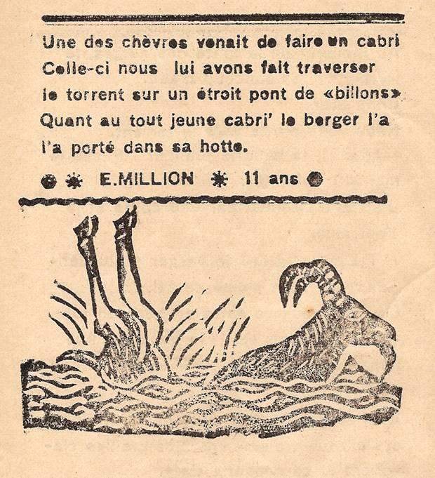 Journal scolaire de Combloux, « Contes des neiges », mai 1933, p. 4, Troupeaux de chèvres sur les alpages, par E. Million, 11 ans