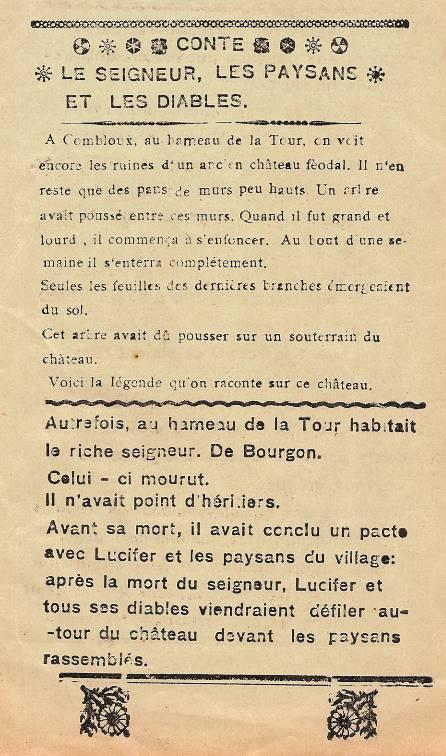 Journal scolaire de Combloux « Contes de neiges », M. Fernand Dunand. Conte « Le seigneur, les paysans et les diables », mai 1932-33,  p. 5