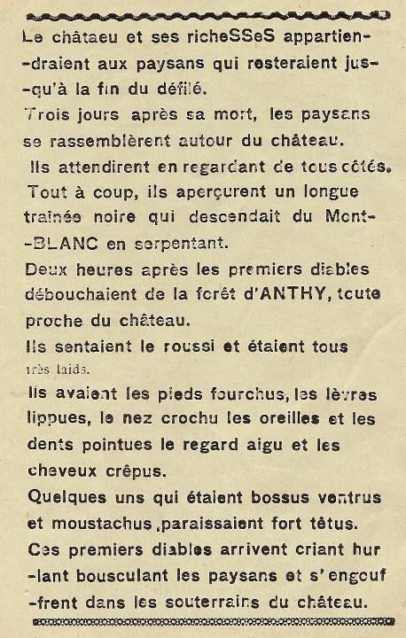 Journal scolaire de Combloux « Contes de neiges », M. Fernand Dunand. Conte « Le seigneur, les paysans et les diables », mai 1932-33,  p. 6