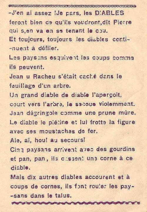 Journal scolaire de Combloux « Contes de neiges », M. Fernand Dunand. Conte « Le seigneur, les paysans et les diables », mai 1932-33,  p. 8