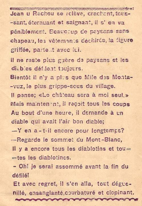 Journal scolaire de Combloux « Contes de neiges », M. Fernand Dunand. Conte « Le seigneur, les paysans et les diables », mai 1932-33,  p. 9