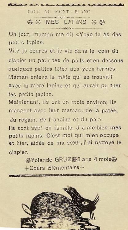 Journal scolaire de Passy « Face au Mont-Blanc », Avril 1938, p. 13 Mes lapins